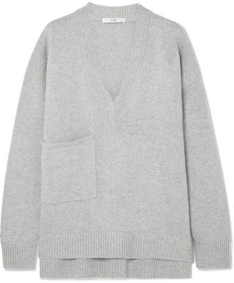 Tibi Oversized Asymmetric Cashmere Sweater - Light gray