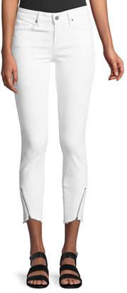 Paige Verdugo Mid-Rise Skinny-Leg Jeans w/ Angled Zip & Raw Hem