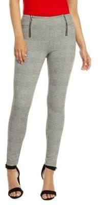 Dex Zip-Front Plaid Leggings