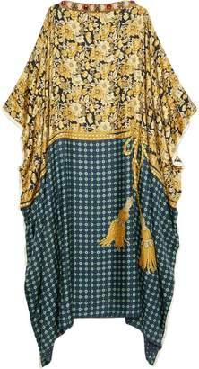 Gucci Oversize tunic dress with flowers and tassels