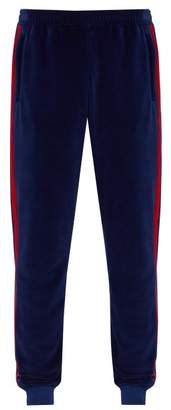 Gucci Web Stripe Velvet Track Pants - Mens - Blue Multi