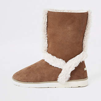 River Island Brown suede fur lined boots
