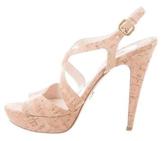 Prada Platform Cork Sandals Natural Platform Cork Sandals
