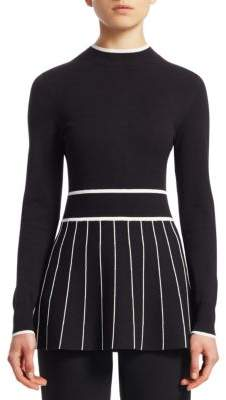 Lela Rose Contrast Stripe Mockneck Sweater