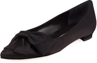 Manolo Blahnik Beccara Satin Bow Ballet Flats