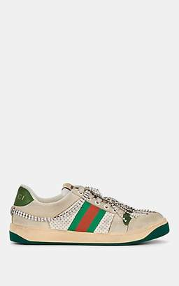 Gucci Women's Screener Crystal-Embellished Leather Sneakers