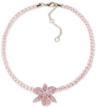 """Nina Cubic Zirconia Orchid Braided Cord Pendant Necklace, 16"""" + 3"""" extender"""