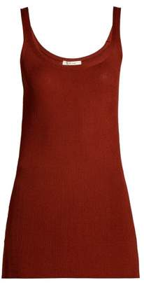 The Row Ribbed Silk Tank Top - Womens - Brown