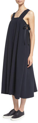 Helmut Lang Sleeveless Side-Tie Voile Midi Dress, Navy