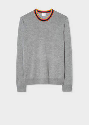 Paul Smith Men's Light Grey Merino Wool Sweater With 'Artist Stripe' Collar