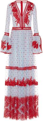 Costarellos Bell Sleeve Long Dress