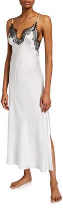Christine Lingerie Arabella Lace-Trim Silk Nightgown