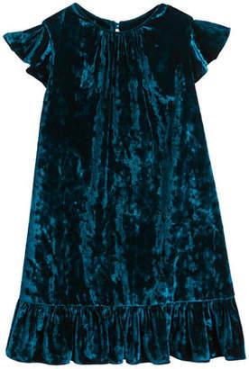 Milly Minis Ruffle-Trim Crushed Velvet Shift Dress, Size 8-16
