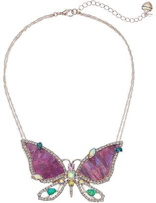 Betsey Johnson Purple and Rose Gold Butterfly Pendant Necklace Necklace