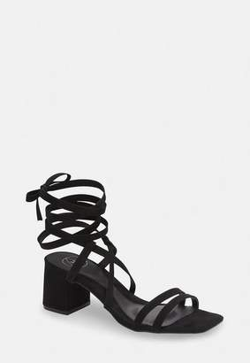 Missguided Black Two Strap Lace Up Mid Heel Sandals