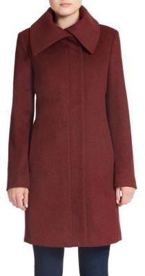 JONES NEW YORK Fold-Over Collar Wool-Blend Coat $340 thestylecure.com