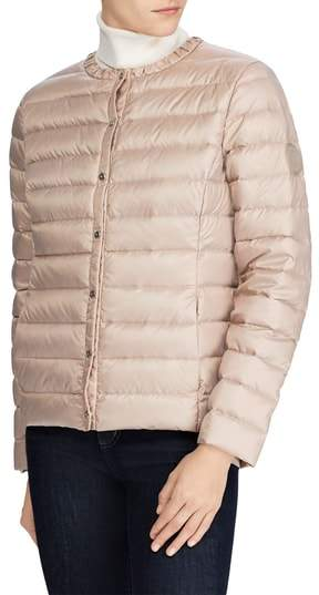 Packable Quilted Collarless Down Jacket