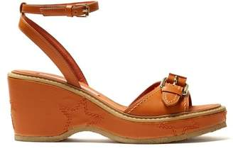 Stella McCartney Linda Star Embroidered Faux Leather Sandals - Womens - Orange