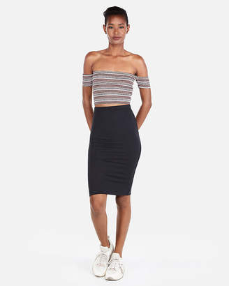 Express One Eleven Ribbed Off The Shoulder Cropped Top