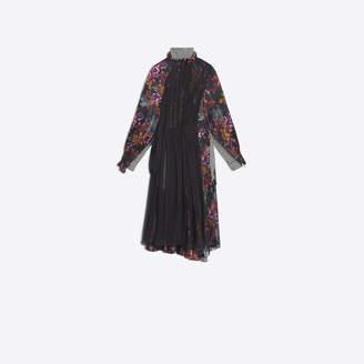 Balenciaga Double dress in jacquard silk, houndstooth viscose crepe and black silk