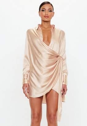 Missguided Gold Textured Satin Wrap Dress
