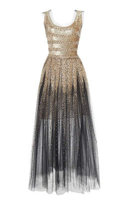 Oscar de la Renta Sequin Sleeveless Dress With Tulle Hem