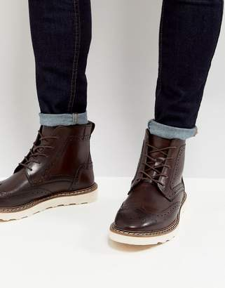 Asos DESIGN Brogue Boots In Brown Leather With Contrast Sole
