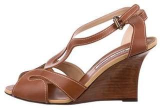 Manolo Blahnik Leather Wedge Sandals