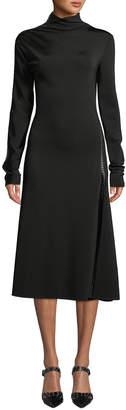 Helmut Lang Studded Turtleneck Long-Sleeve Midi Dress