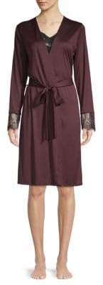 Hanro Lace Cuff Silk Blend Robe