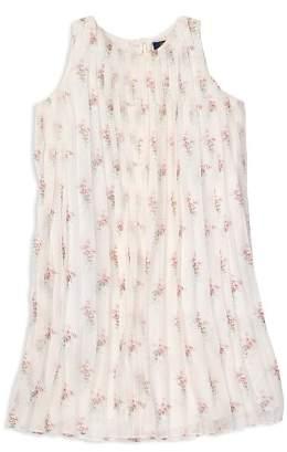 Ralph Lauren Girls' Pleated Floral Crepe Dress - Big Kid
