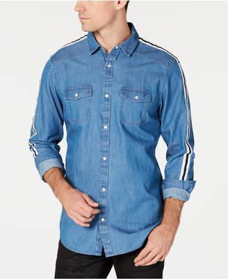 INC International Concepts I.n.c. Men Side Stripe Chambray Shirt