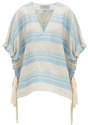 Lee Mathews - Tilda Striped Linen Blend Poncho Top - Womens - Light Blue