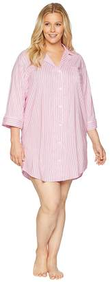 Lauren Ralph Lauren Plus Size Classic Woven 3/4 Sleeve Pointed Notch Collar Sleepshirt Women's Pajama