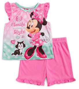 AME Sleepwear Baby Girl's Two-Piece Minnie Mouse Top and Shorts Pajama Set