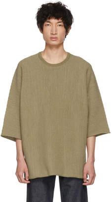 Issey Miyake Homme Plisse Beige WG Knit Three-Quarter Sleeve T-Shirt
