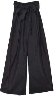 Forte Forte Silk Taffeta Pants with Sash in Nero