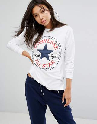 Converse Logo Long Sleeve Tee In White