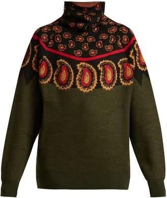 Toga Paisley intarsia-knit wool roll-neck sweater