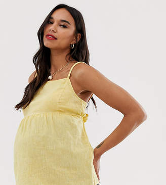 New Look Maternity square neck cami in yellow