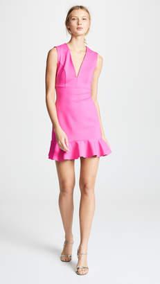 Susana Monaco Plunge Neck Ruffle Hem Dress