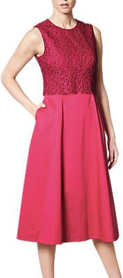 LK Bennett L.K.Bennett Alecia Cotton Mix Dress, Fuchsia