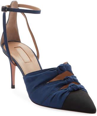 Aquazzura Mondaine Mid-Heel Grosgrain Ankle-Wrap Pumps