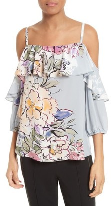 Women's Tracy Reese Silk Cold Shoulder Top $228 thestylecure.com