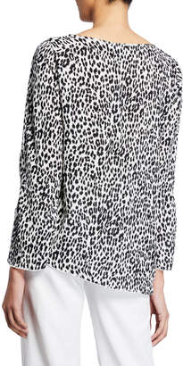 Joan Vass Asymmetric leopard Print Long-Sleeve Top