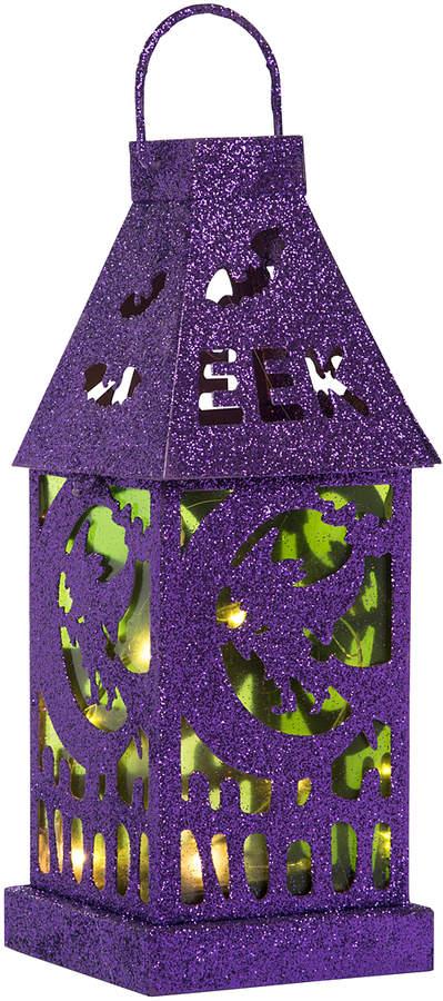 Purple Metal Light-Up Halloween Lantern