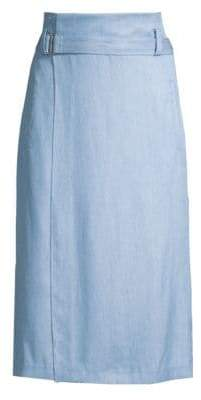 Tibi Chambray Drape Wrap Skirt