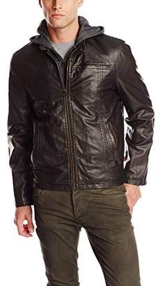 Levi's Men's Faux-Leather Jacket with Hood