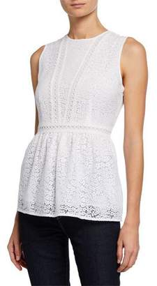 MICHAEL Michael Kors Mini Mod Floral Lace Sleeveless Peplum Top