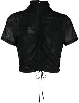 Cinq à Sept high neck rouched blouse